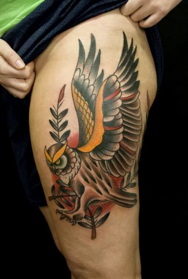 Flying Owl Tattoo Design. More via https://forcreativejuice.com/attractive-owl-tattoo-ideas/
