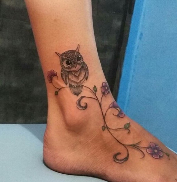 Flower Owl Tattoo on Foot. More via https://forcreativejuice.com/attractive-owl-tattoo-ideas/