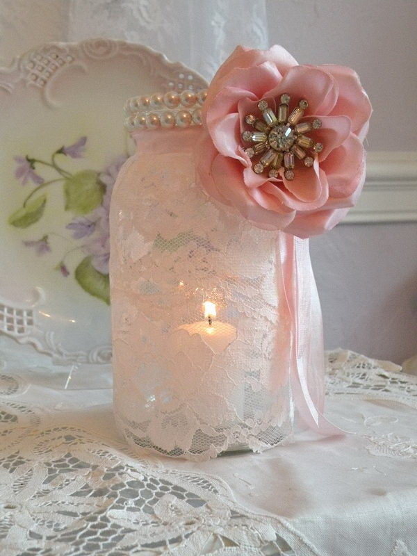 Pink and White Lace Mason Jar Candle Holder.