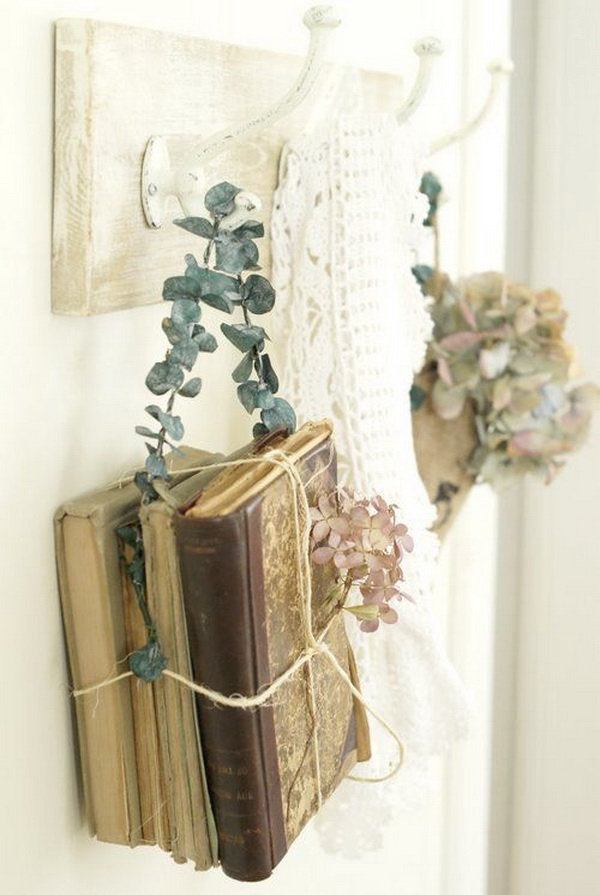 Shabby Chic Decoration with Old Hanging Books.
