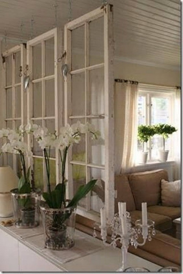 Old Window Frames as Space Dividers.