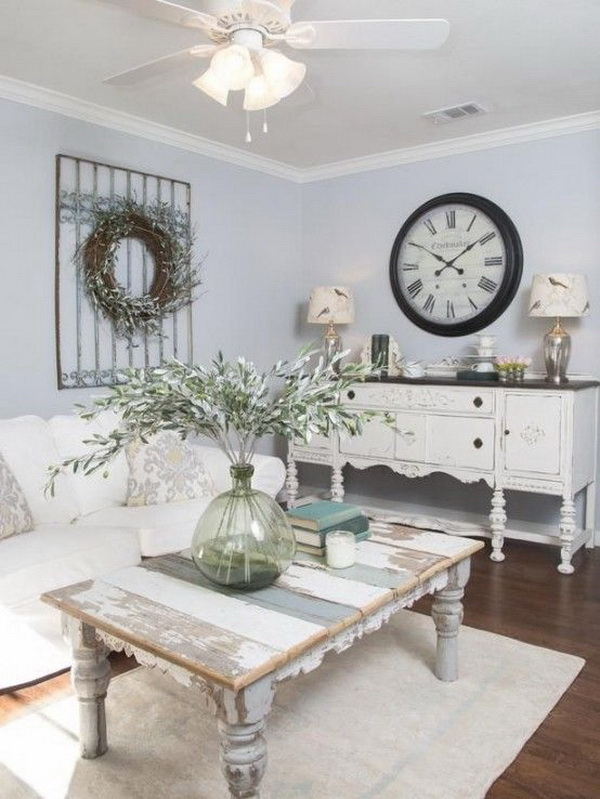 Reclaimed Wooden Table And A White Sideboard For Shabby Chic Room