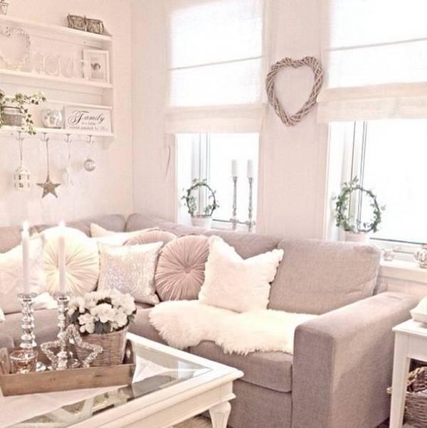 Cozy Cream Shabby Chic Living Room With Corner Sofa