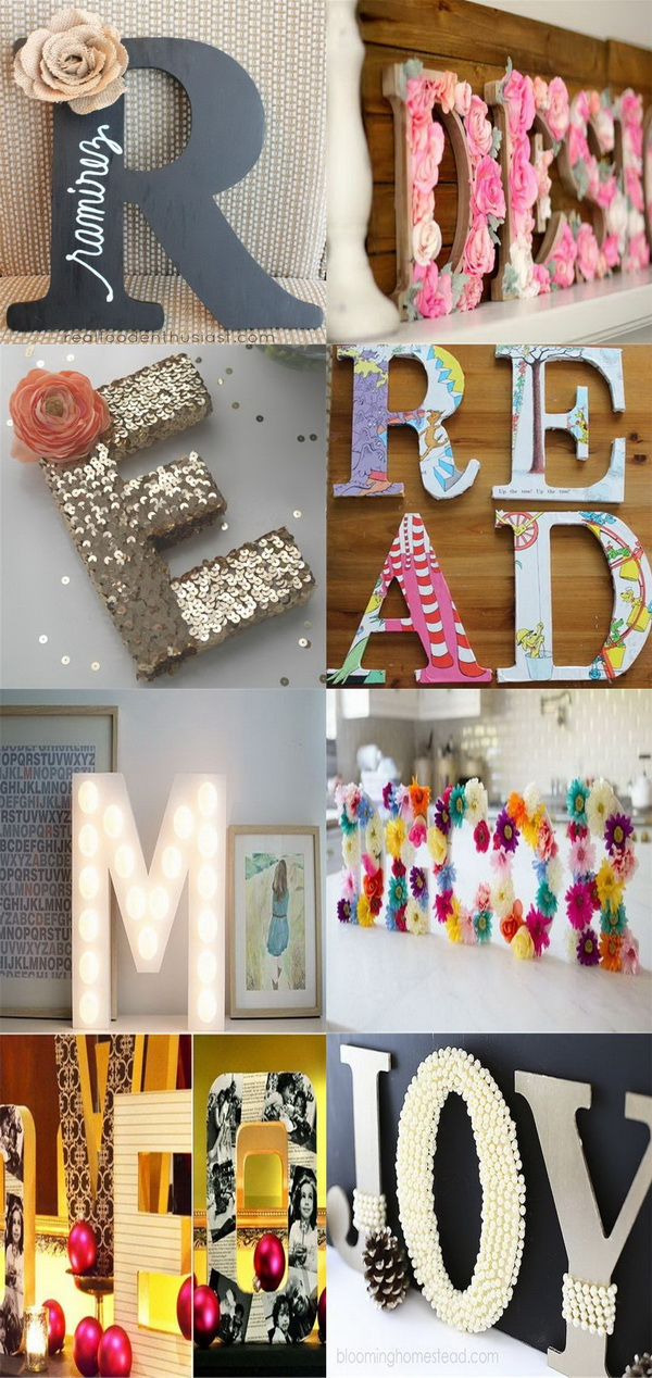 diy letter decor 20 best diy decorative letters with lots of tutorials 21385 | 1 1 diy decorative letter ideas tutorials