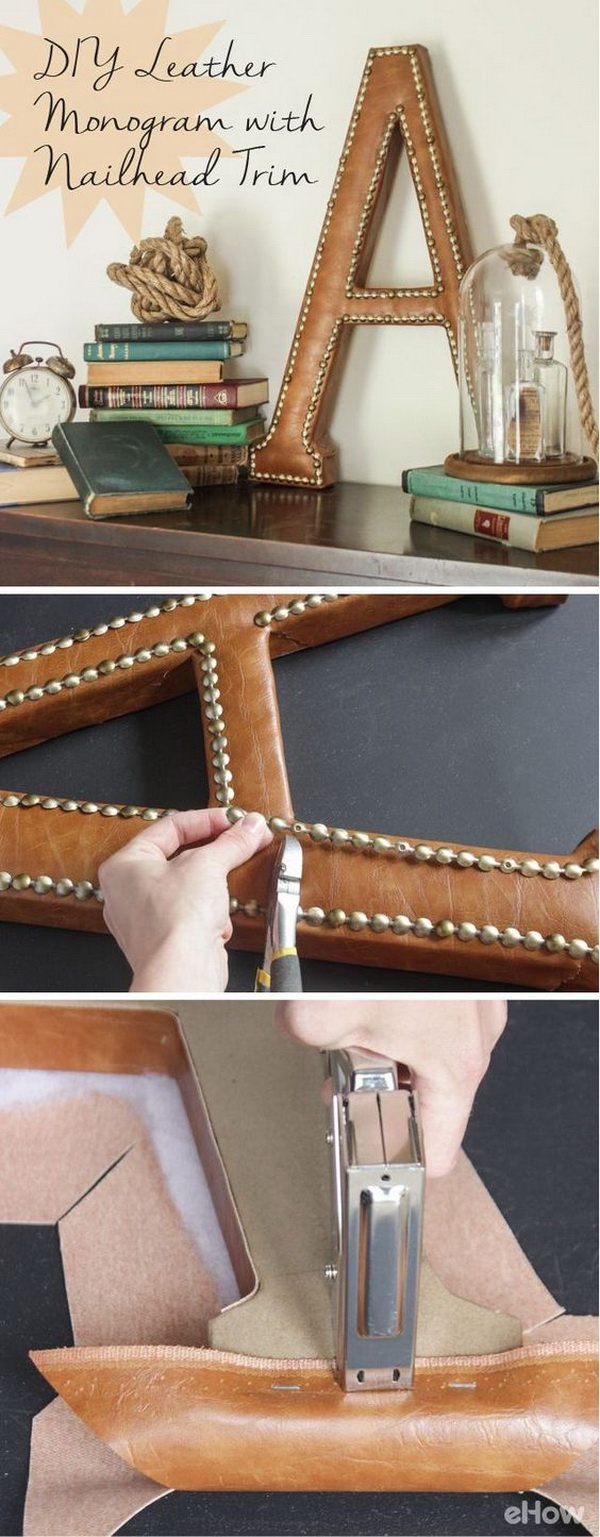 DIY Leather Monogram With Nailhead Trim. This leather monogram with nailheads trim adds a bit of masculine flair  and chic with rich-looking leather and shiny brass nails to any space.