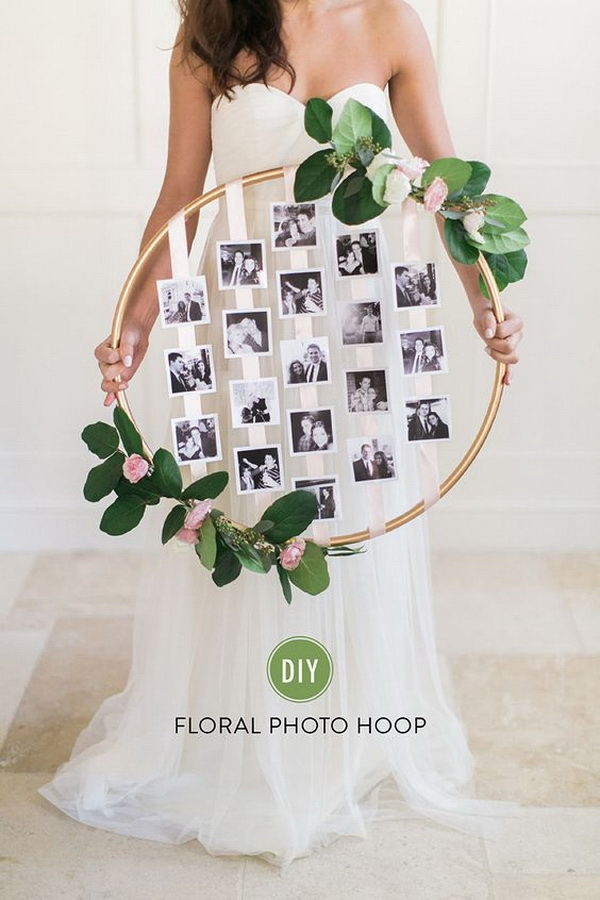 DIY Floral Photo Hoop. This DIY floral photo hoop is a beautiful way to showcase your cherished photos in your wedding.