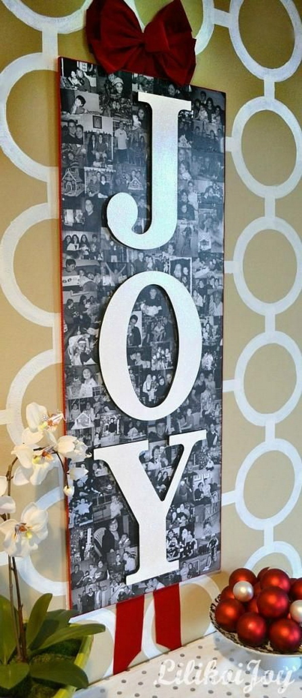 DIY Photo Collage For Christmas Decor. This giant photo collage will sure make a statement for your decor during the Chirstmas season.