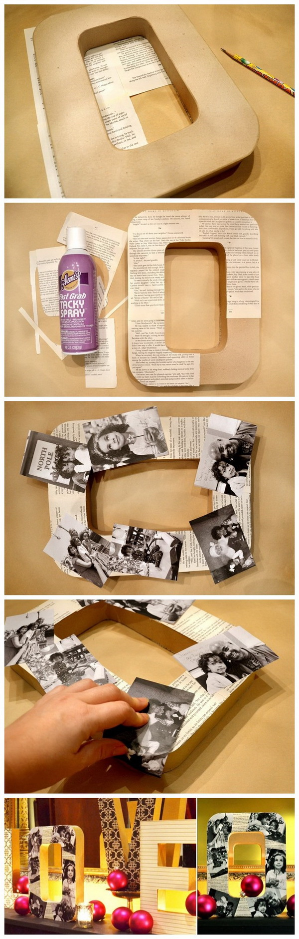 DIY Decorative Photo Letters. Customize the cardboard letters with vintage photos and it will make a strong statement for your home decor! Super easy and creative way to decor on budget!