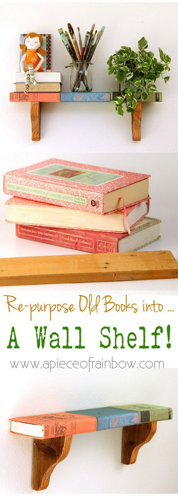 Wall Shelf From Faux Vintage Books. A fun and creative idea to make a stylish and unique wall shelf with vintage books! .