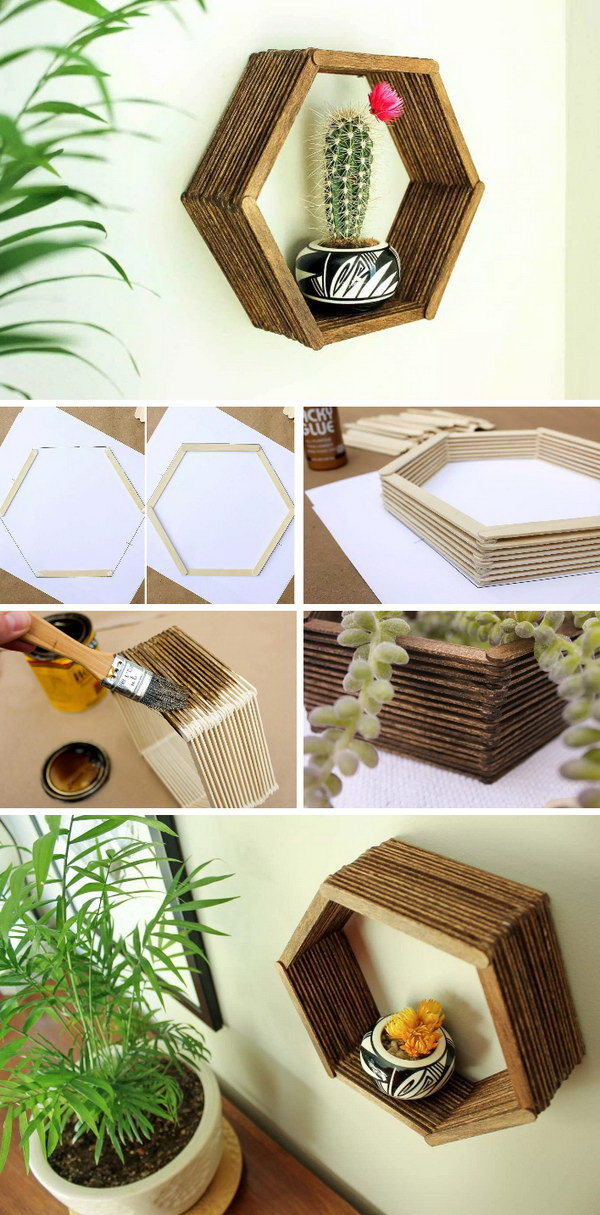 DIY Popsicle Stick Hexagon Shelf. Never throw away the popsicle stickers and now you can make this inexpensive home decor knockout just with glue and some stain. Add a touch of mid-century charm to your home decor!