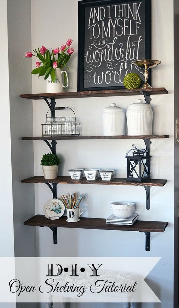 DIY Stained Open Shelving. This stained open shelving is perfect for a farmhouse decor. Easy and cheap to make!