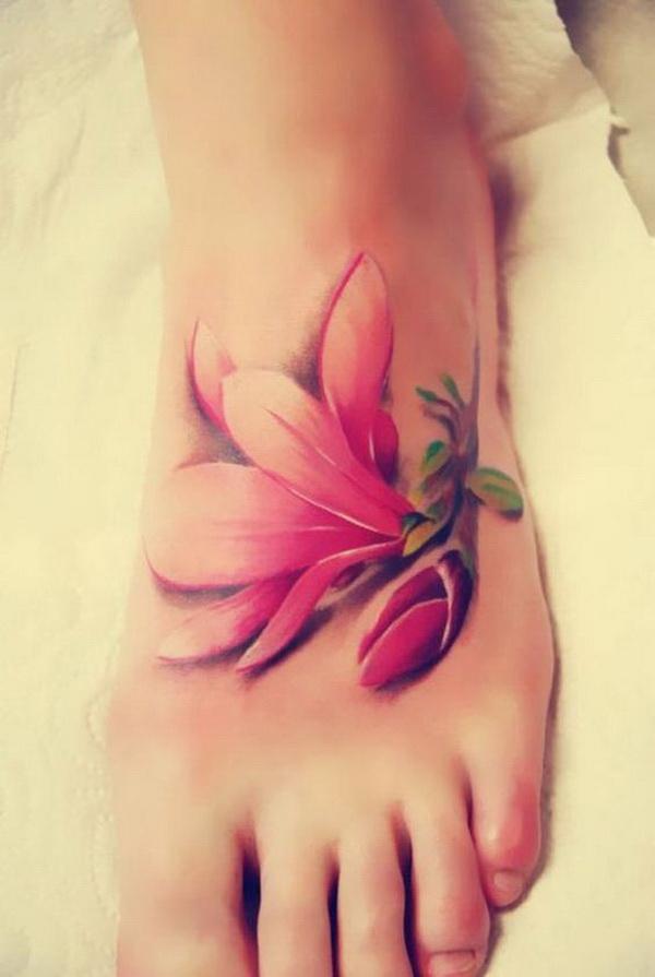 Single Cherry Blossom Tattoo on Foot.