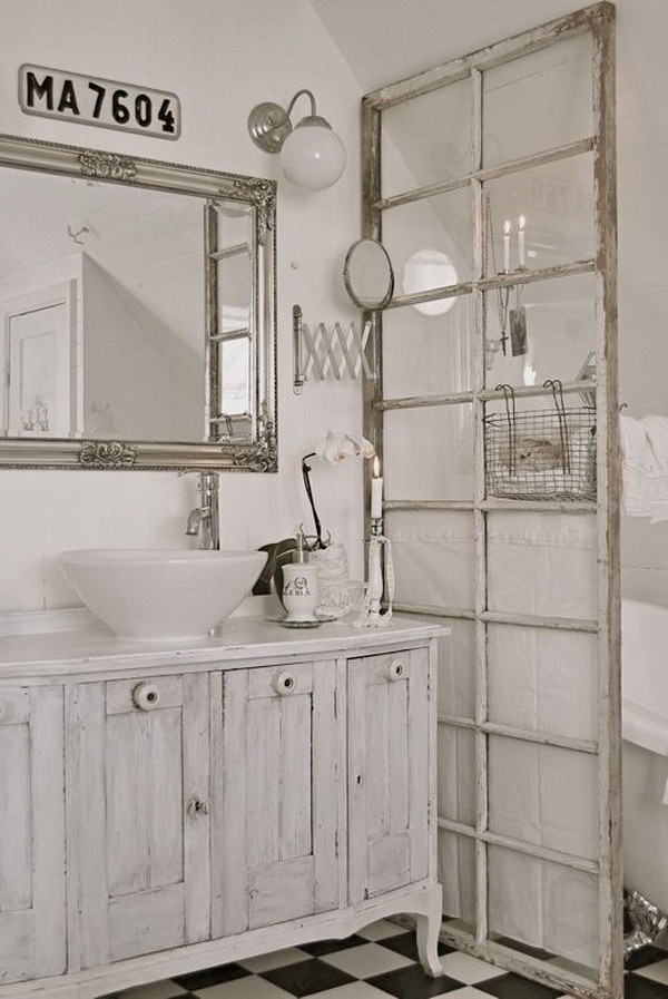 Shabby Chic Bathroom with Old French Door Divider.