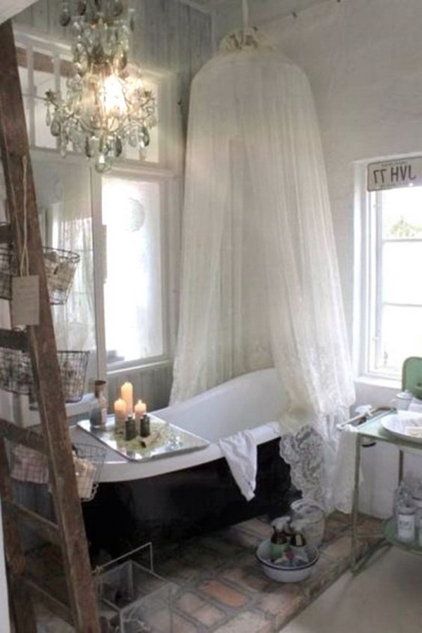 Cozy Shabby Chic Bathroom with a Canopy.