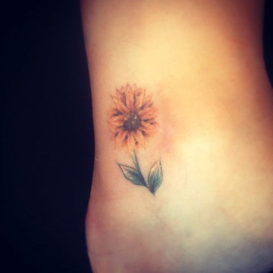 Sunflower Ankle Tattoo.