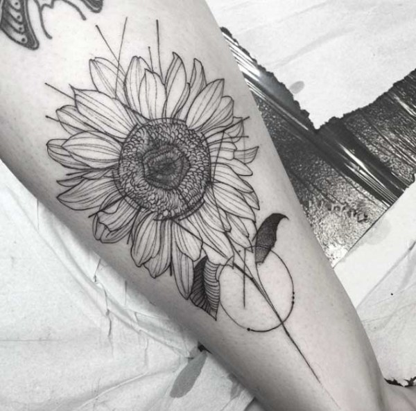 Antique Artistic Outline of Sunflower Design.