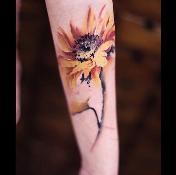 Sunflower Watercolor Tattoo.