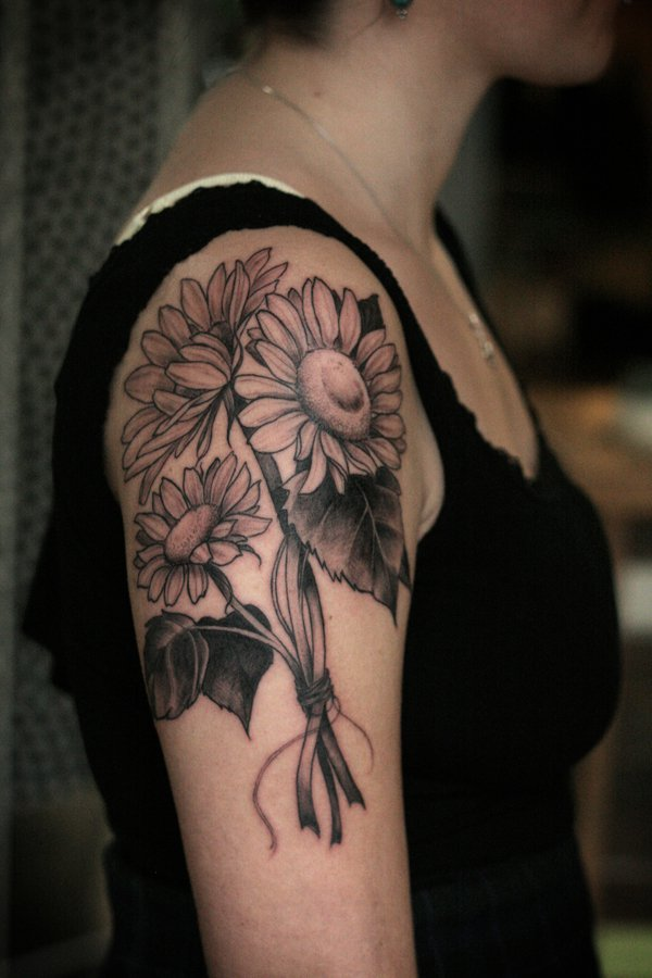 Upper Arm Tattoo Design with A Bouquet of Sunflowers.