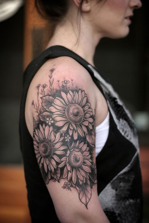 Vintage Gray Sunflower Tattoo.