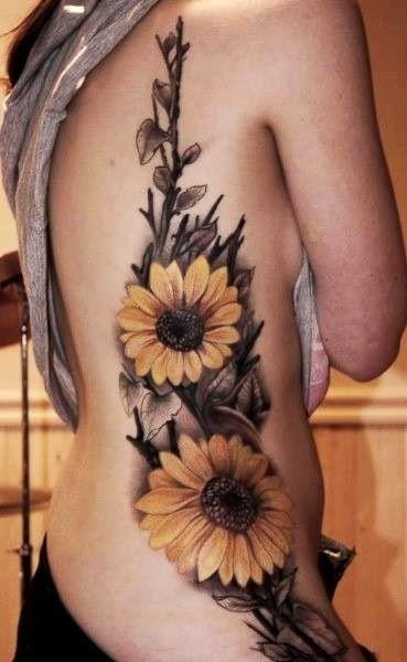 Sunflower Tattoos Up Side.