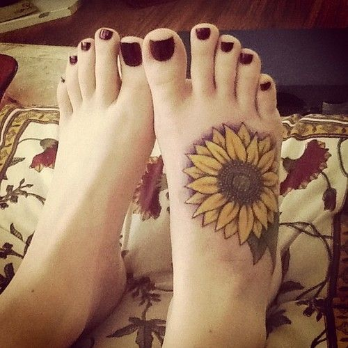 Sunflower Tattoo on Foot.