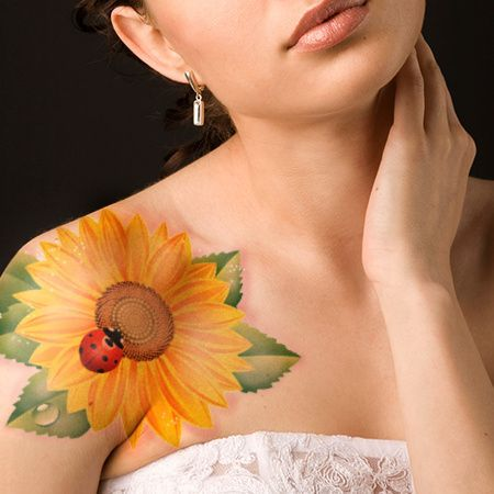 Sunflower with Lady Bug Tattoo.