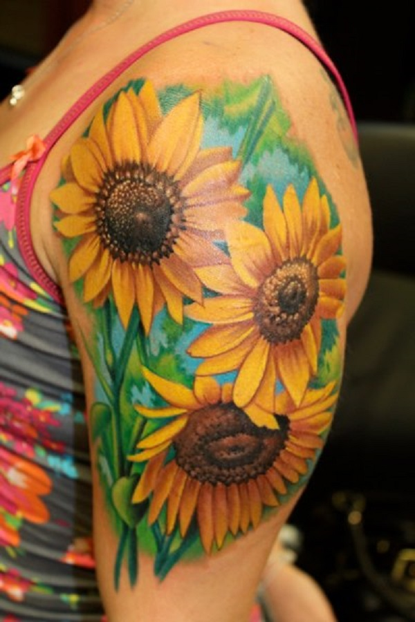 Sunflower Tattoo on the Arm.