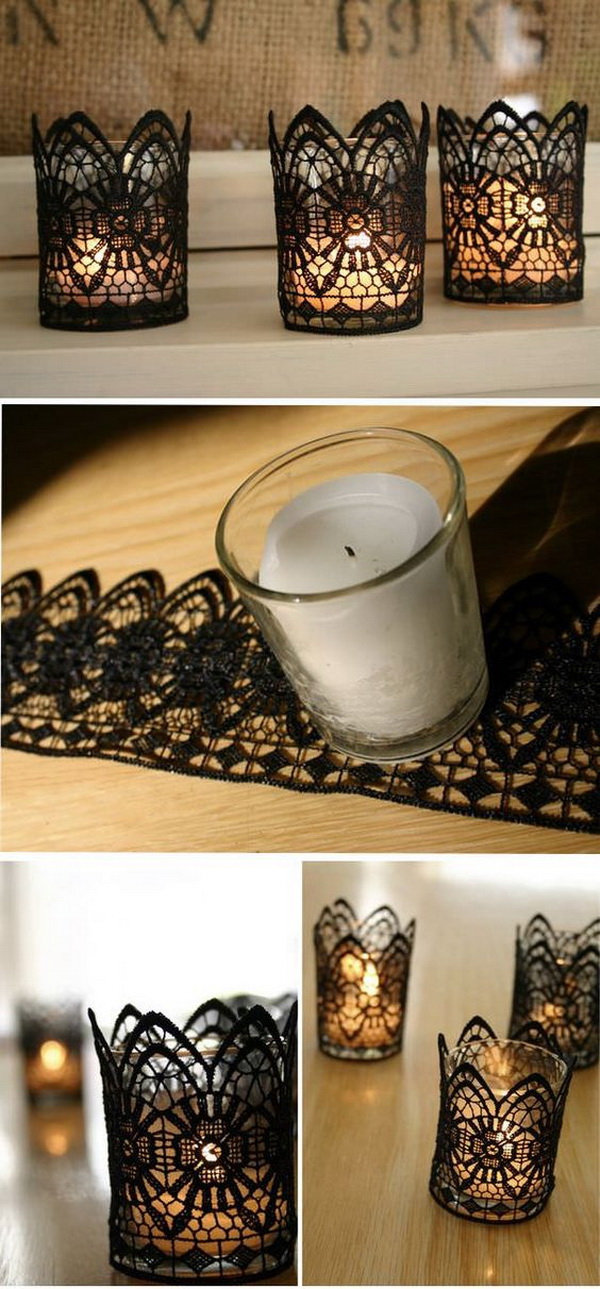 DIY Black Lace Votive Holders. Add a perfect touch to your table Halloween decoration with this DIY black lace votive holder.