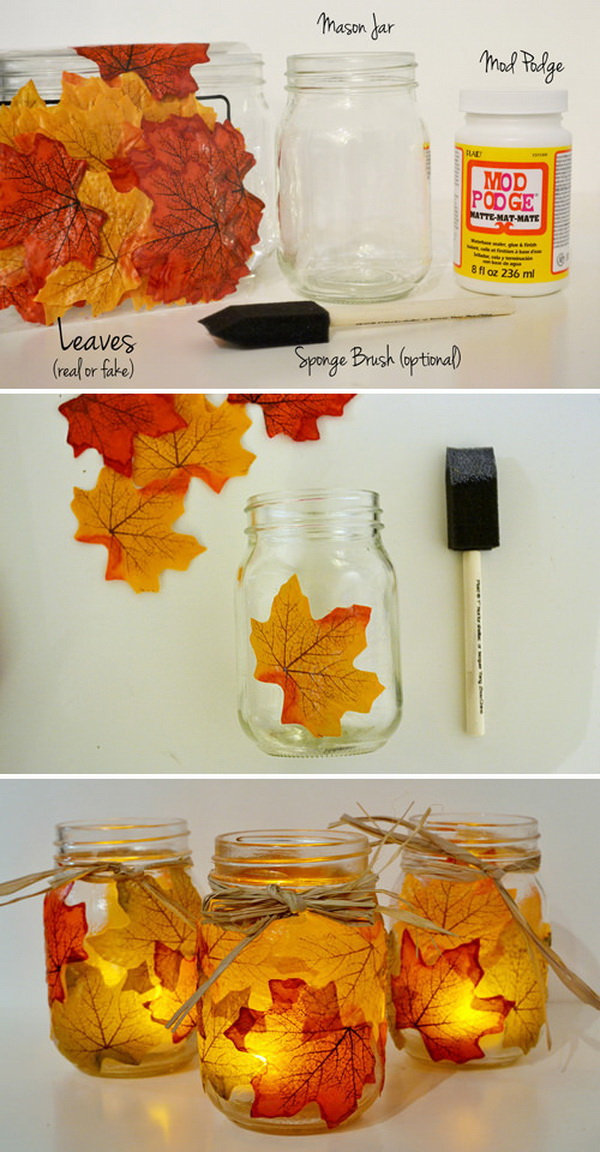 Autumn Leaf, Mason Jar Candle Holder. Bring the natural beauty of fall season into your home decor with these lovely and gorgeous DIY autumn leaf mason jar candle holders.
