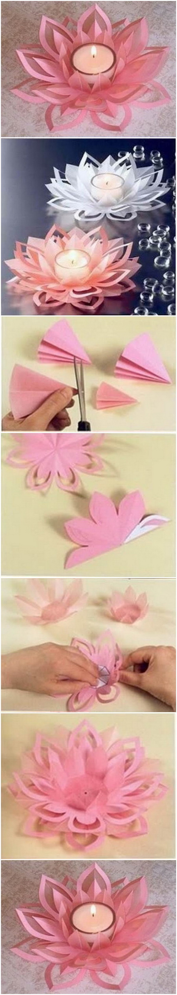 DIY Paper Lotus Candle Holders. Add an Asian touch to your wardrobe or create an original floating centerpiece with these beautiful handmade paper lotus  candles.