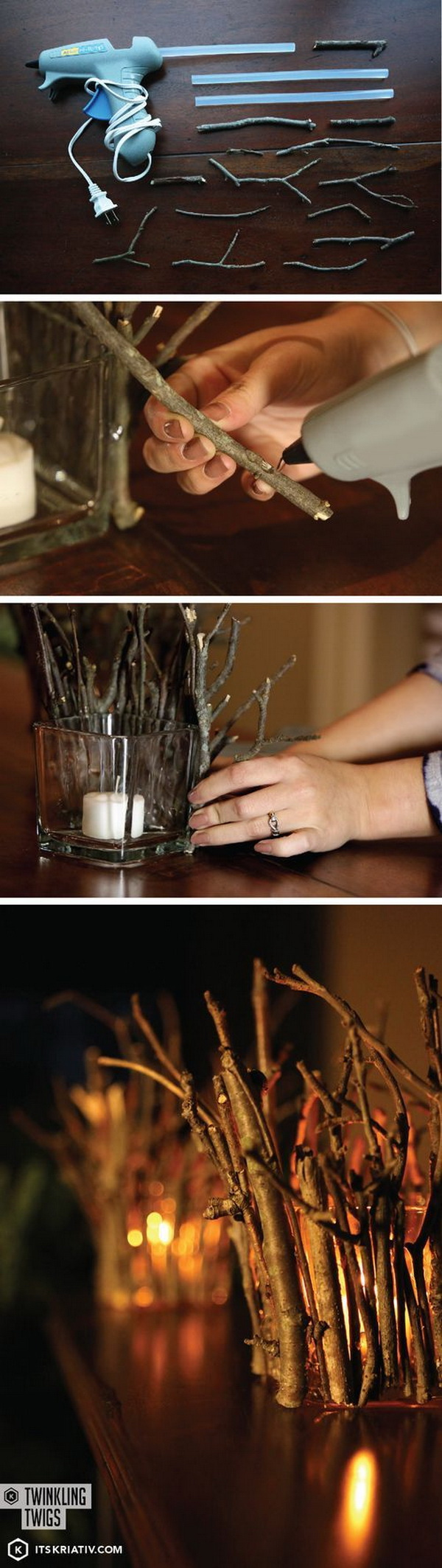 DIY Twig Candle Holders. A beautiful, rustic way to decorate your home with the candles made with twigs.