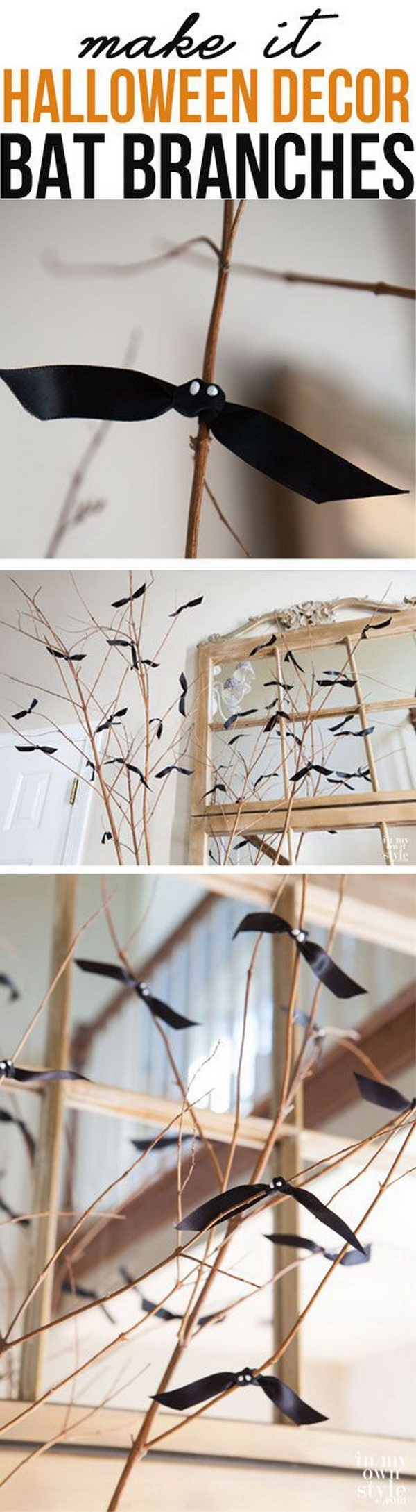 Handmade Bat Branches. Simple DIY craft to add to the decoration's spook factor during this Halloween season.