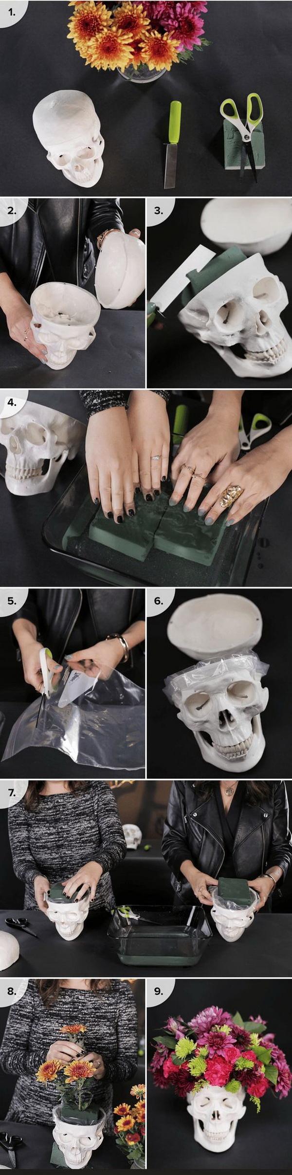 DIY Skull Floral Arrangement.