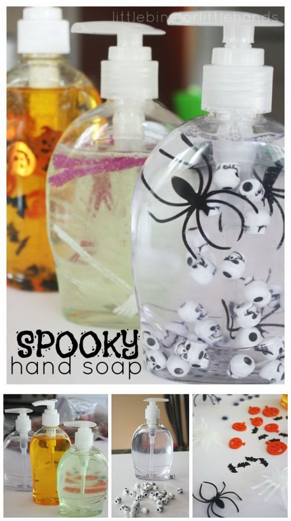 halloween soap hand sanitizer add some cute items like spooky spiders googly eyes - Cute Halloween Decor