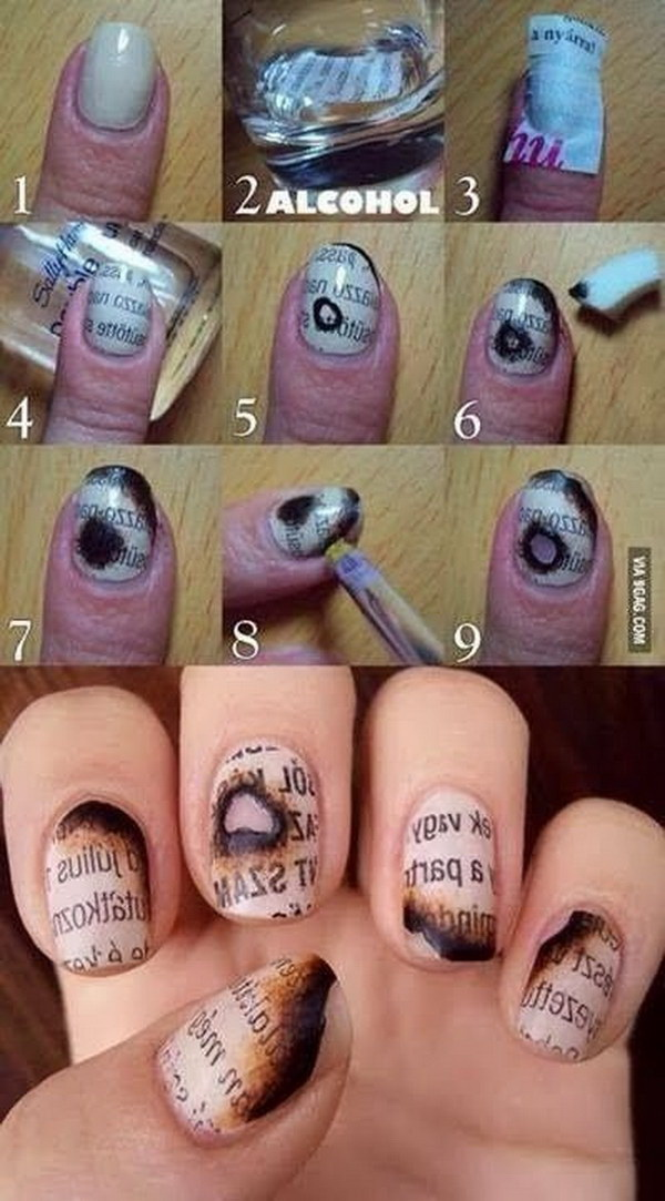 Newsprint Nail Art For Halloween.