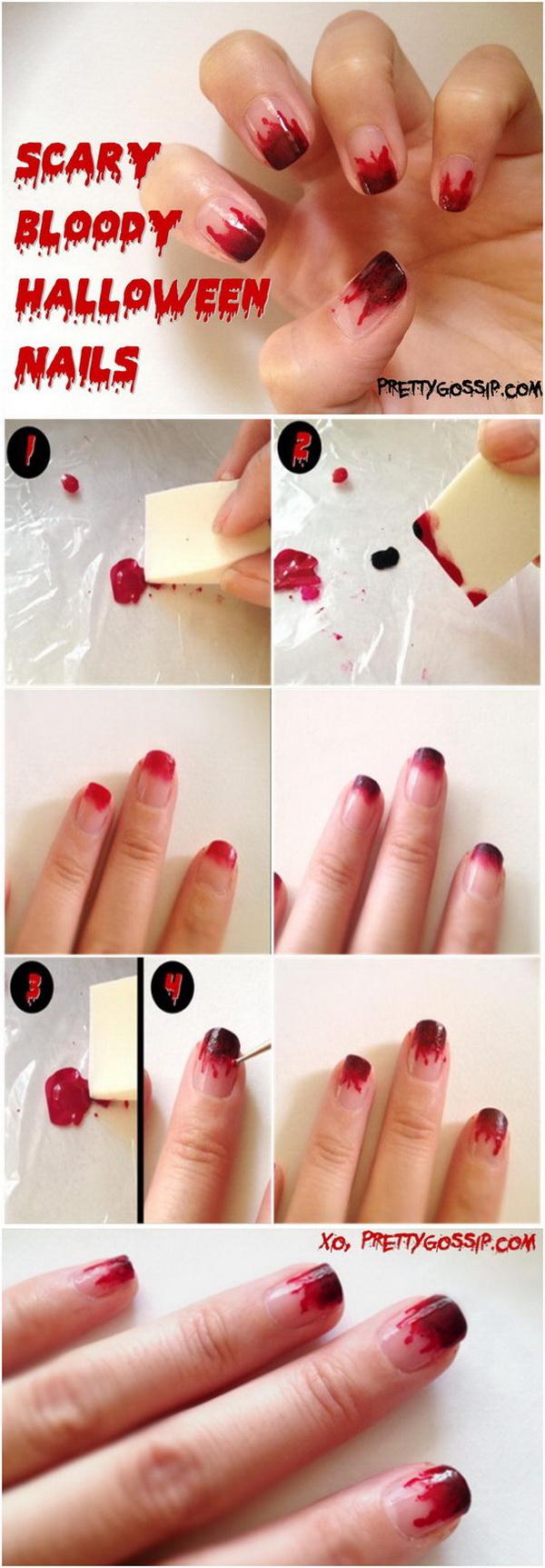 DIY Scary & Bloody Halloween Nail.