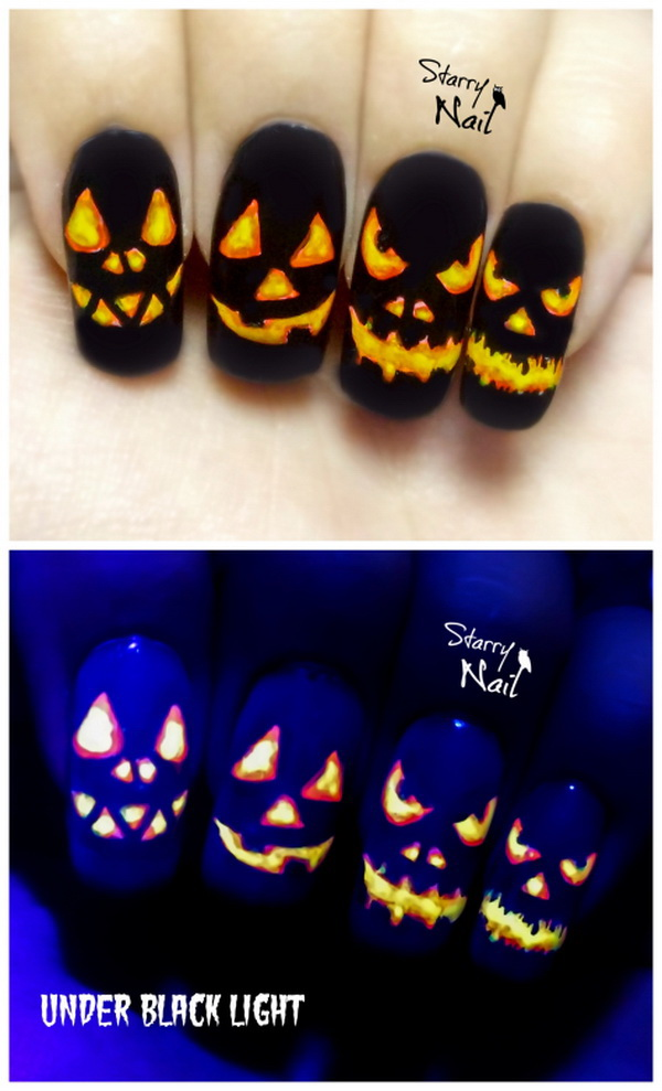 Halloween Pumpkins Easy Glow In The Dark Nail Art.