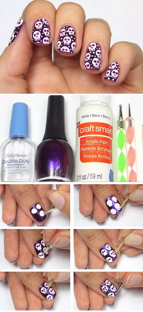 Skulls Halloween Nail Ideas.