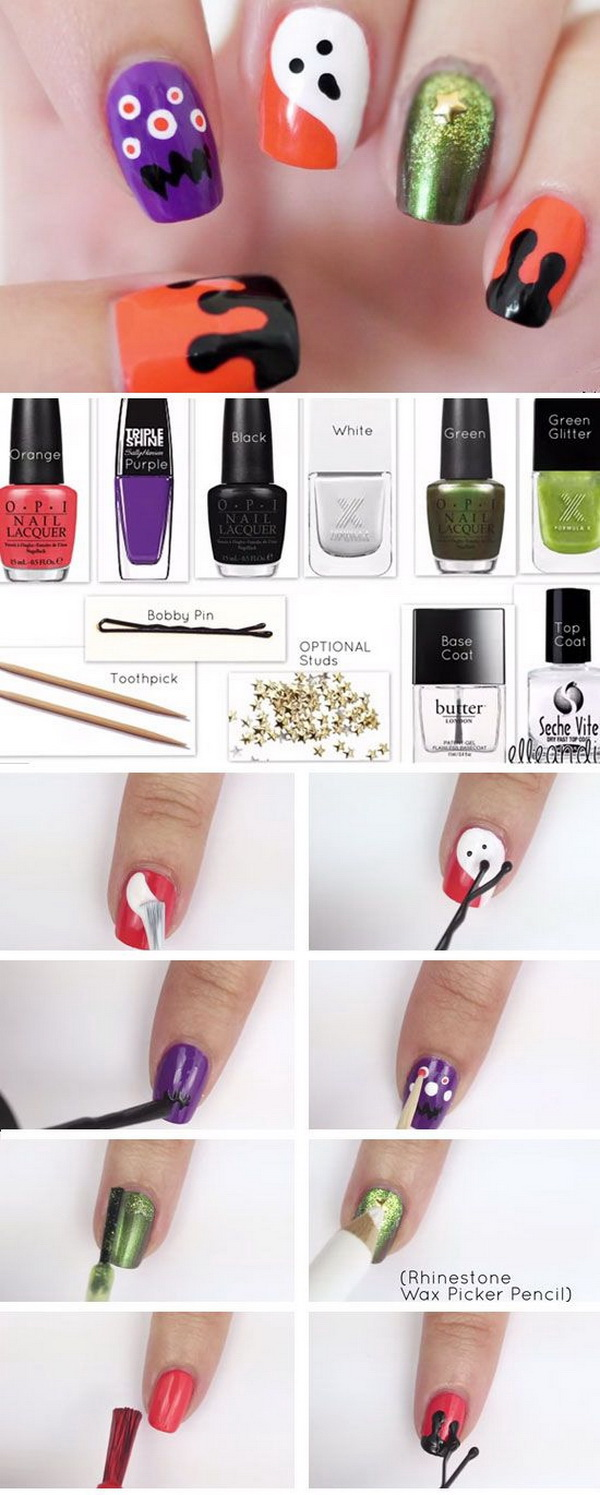 Halloween Skully Nail Art Design.