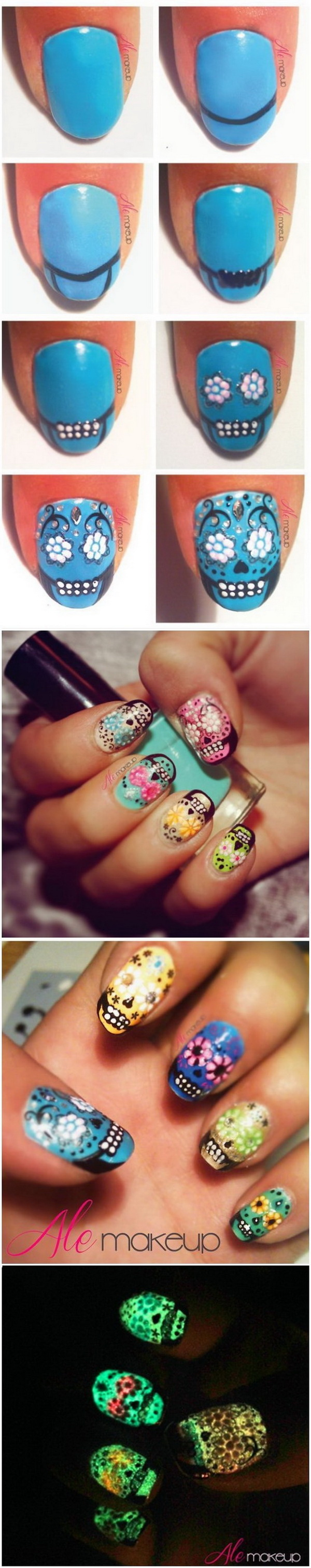 DIY Sugar Skulls Nail Design.