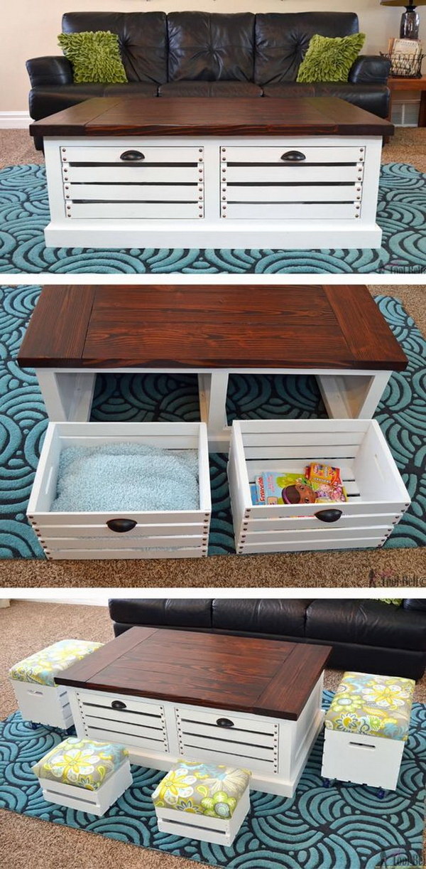 DIY Wood Crate Coffee Table and Stools with Storage. Add extra storage to your living areas by building a stylish and unique storage coffee table with wood crates!