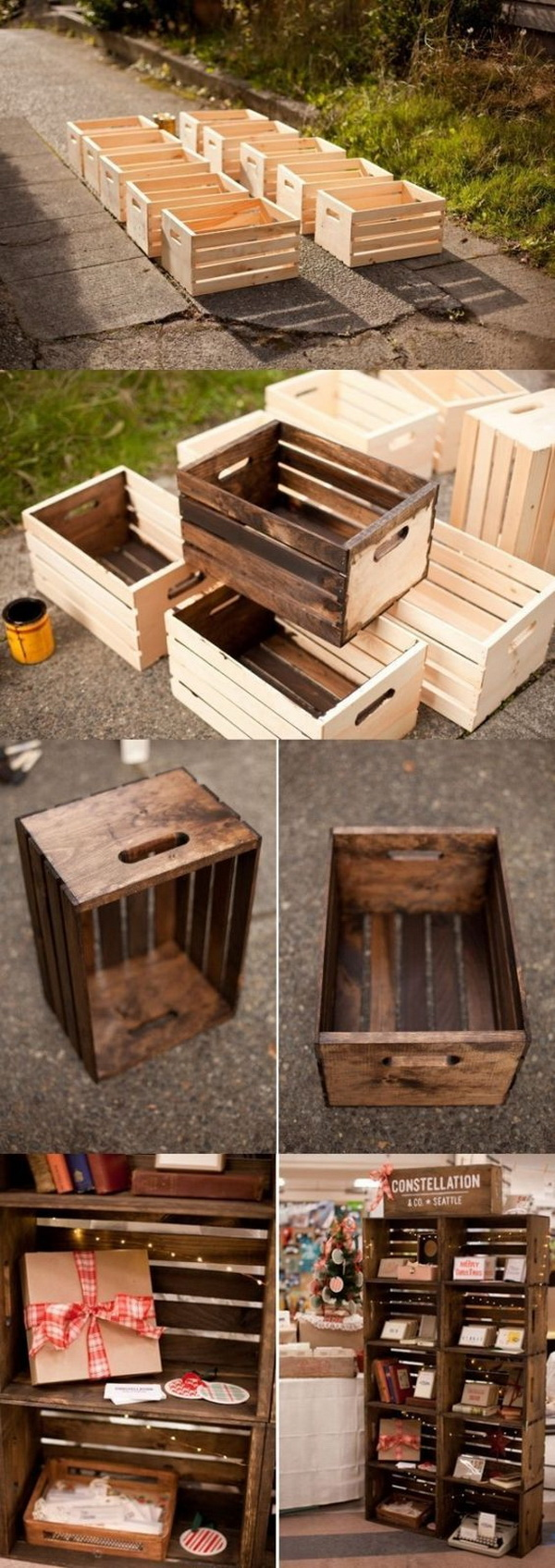 Apple Crates Display Case. Turn Walmart crates into this rustic display case for your home for under $10.