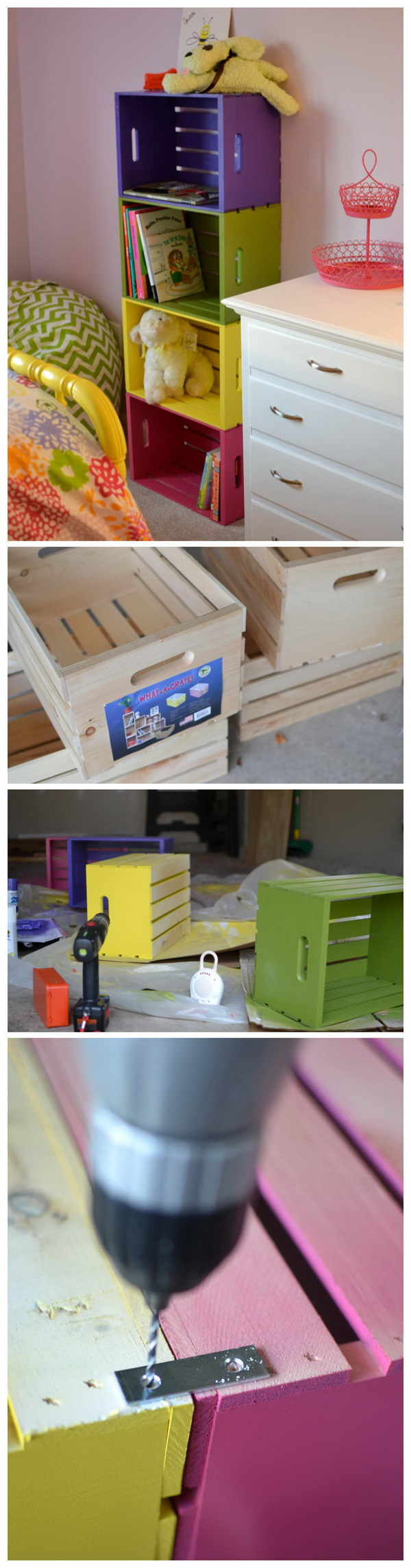 Colorful Wood Crate Bookcase. Make a fun colorful bookshelf from crates that easily pop up and organize your kids' room.