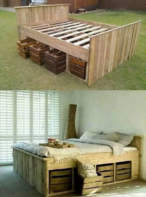 DIY Pallet Bed with Pull Out Crates Under. Upcycle the pallets to form the frame for the bed and add wood crates under for more storage in your bedroom. Leave the original materials to show off their origin charm!