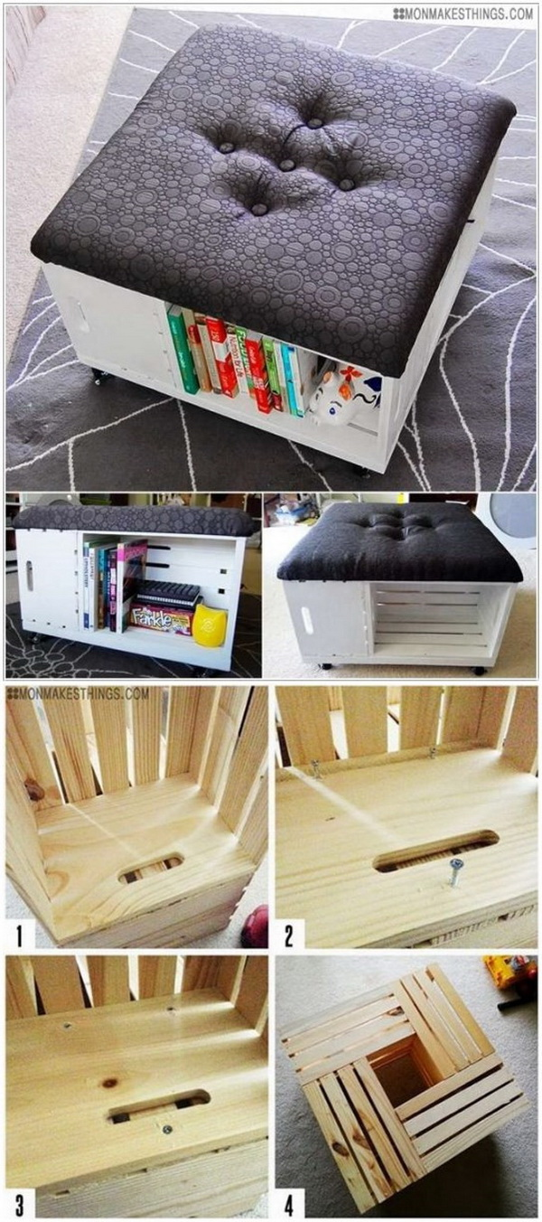 DIY Storage Ottoman. A fun weekend project! Add both a little more space and comfort to your living room as well as extra seating and a place to prop up your feet by building this ottoman with wooden crates.
