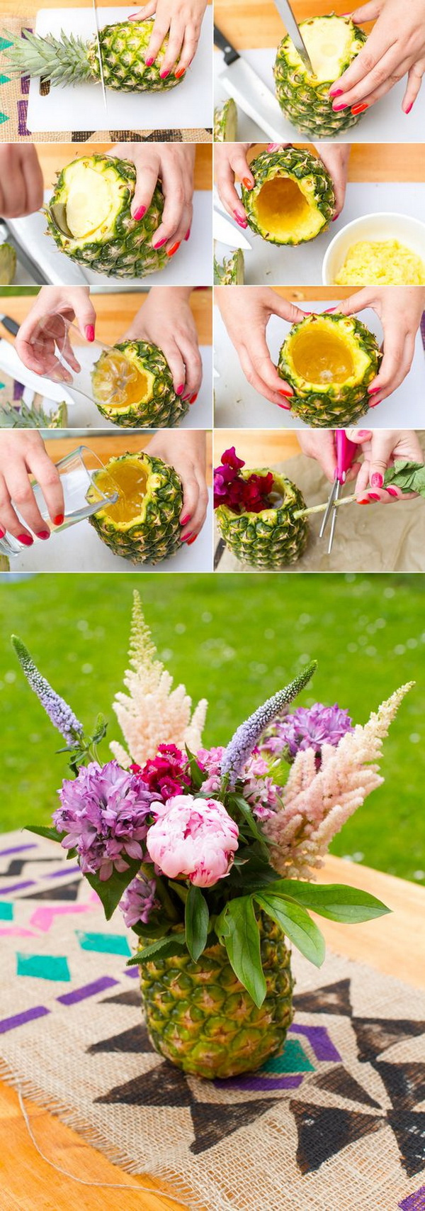 Fun Pineapple Floral Arrangement. Create unique fruity floral arrangement with pineapples that look like they were styled by a professional florist. These tropical vases will add a luxe element to any special event, from a birthday party to a bridal shower.