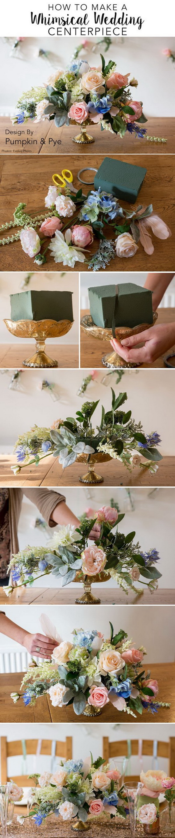 DIY Flower Arrangement Centerpiece. This gorgeous DIY flower Centerpiece will make the perfect addition to your wedding, event or home table.