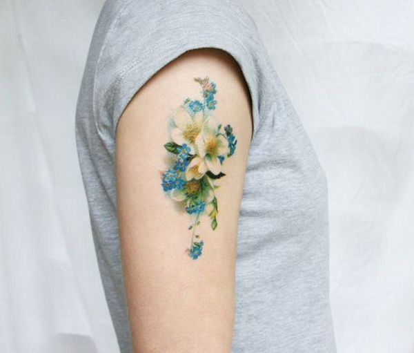 Vintage Blue and White Floral Temporary Tattoo.