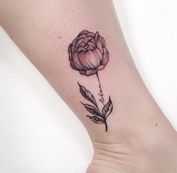 Delicate Peony on Ankle Design.