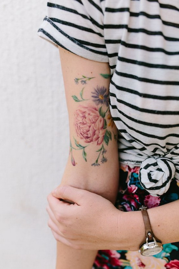 Watercolor Floral Tatoo Design.